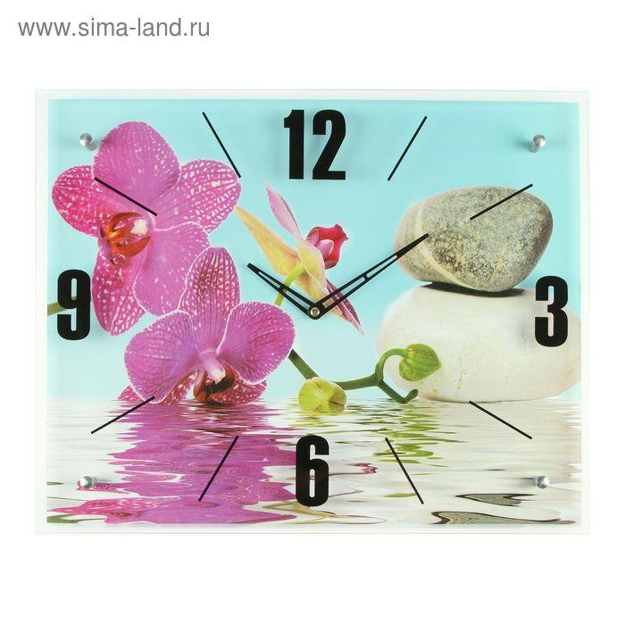 """Часы настенные, серия: Цветы, """"Сиреневые орхидеи и камни"""", 40х50  см, микс"""