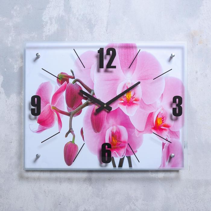 """Часы настенные, серия: Цветы, """"Орхидея"""", 40х50  см, микс"""