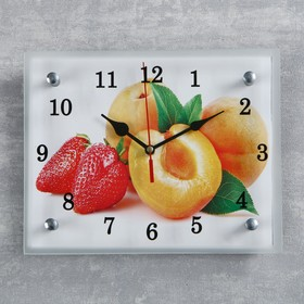 """Часы настенные, серия: Кухня, """"Абрикосы и клубника"""", 20х25  см, микс"""