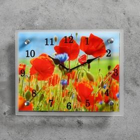 Часы настенные прямоугольные 'Маки в поле', микс 20х25 см Ош