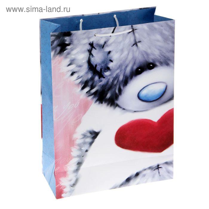"""Пакет подарочный """"Застенчивый мишка"""", 26.4 х 36 х 11.5 см, Me to you"""