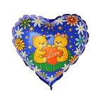 """Шар фольгированный Сердце 9"""" Медвежата с Сердцем ФМ"""