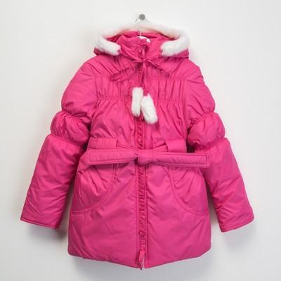 """Пальто для девочки """"Рюши"""", рост 140 см, цвет розовый"""