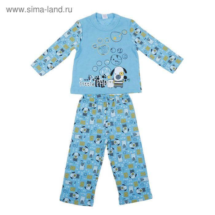 """Пижама с начёсом для мальчика """"Щенок"""", рост 98-104 см (56), цвет бирюза, принт Р227606"""