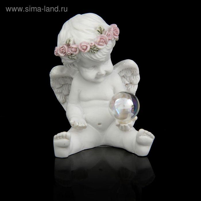 """Сувенир """"Ангелочек с розовым веночком с мыльным пузырём"""" МИКС"""