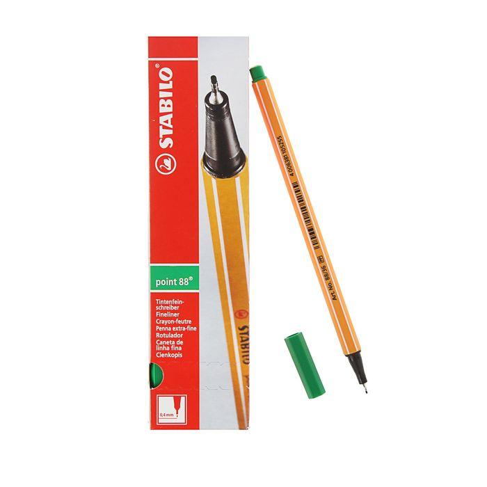Ручка капиллярная Stabilo point 88 0.4 мм чернила зеленые 88/36