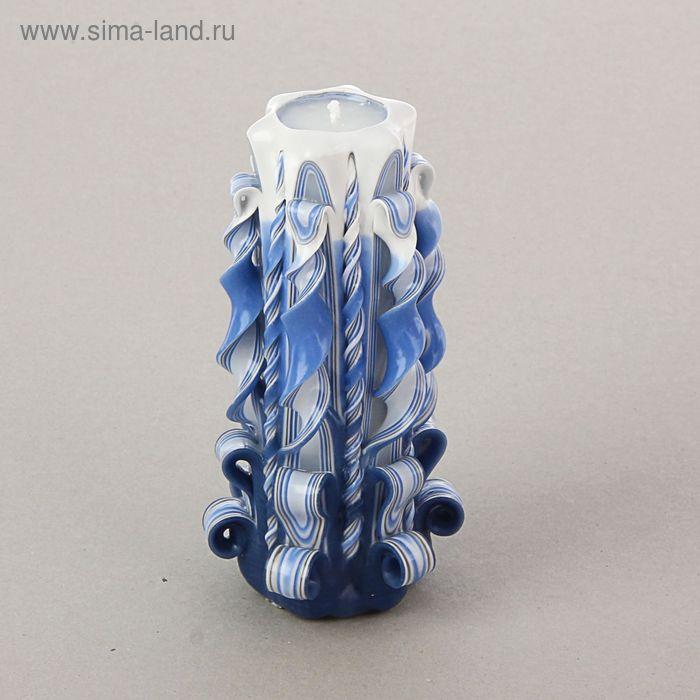Свеча резная синяя 17 см