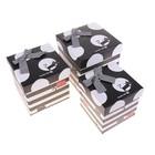 Набор коробок 3в1 куб (16,5х16,5х16,5/15х15х15/13,5х13,5х13,5 см) Кошки бело-черный