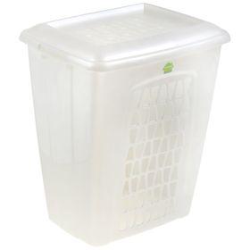 Корзина для белья с крышкой «Молетта», 60 л, 48×37×55 см, цвет перламутрово-белый