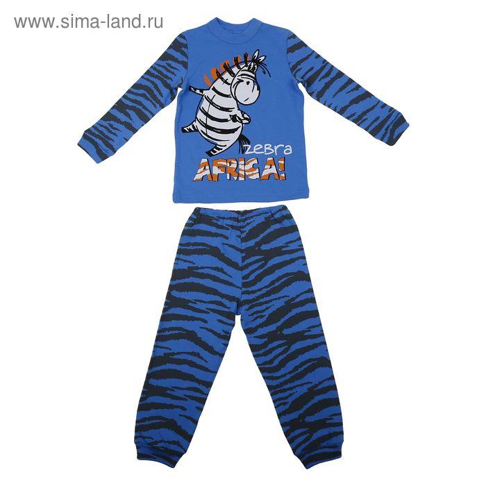 """Пижама для мальчика """"Зебра в Африке"""", рост 92-98 см (52), цвет синий Р217414"""