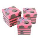 Набор коробок 3в1 куб (16,5х16,5х16,5/15х15х15/13,5х13,5х13,5 см) Кошки серо-розовый