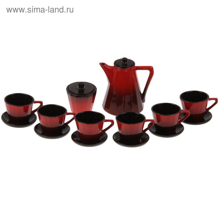 """Сервиз кофейный """"Ностальгия"""", кофейник 700 мл, сахарница 200 мл, чайная пара 200 мл 6 шт"""