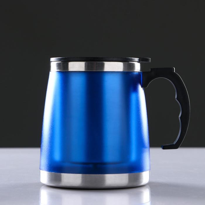 """Кружка-заварник """"Пышка"""",  450 мл, сохраняет тепло 3 ч, синяя матовая"""