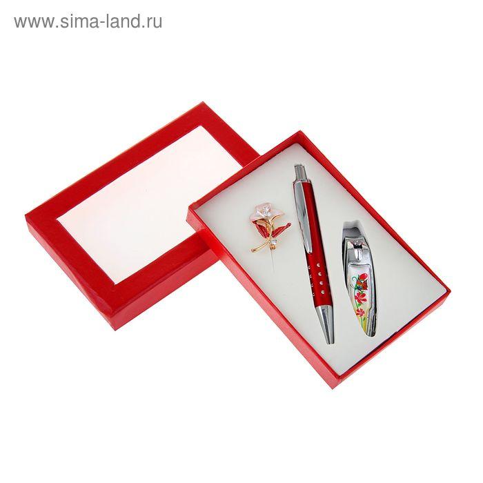 Набор подарочный 3в1 в коробке (ручка+брошь цветок+кусачки) красный 12х7,5х2 см