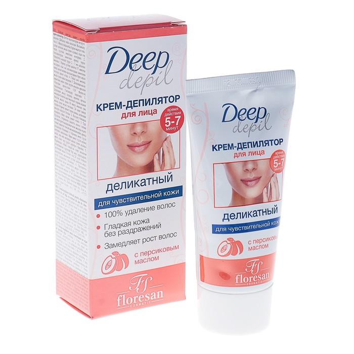 Деликатный крем-депилятор Deep Depil, для удаления волос на лице, с маслом персика, 50 мл