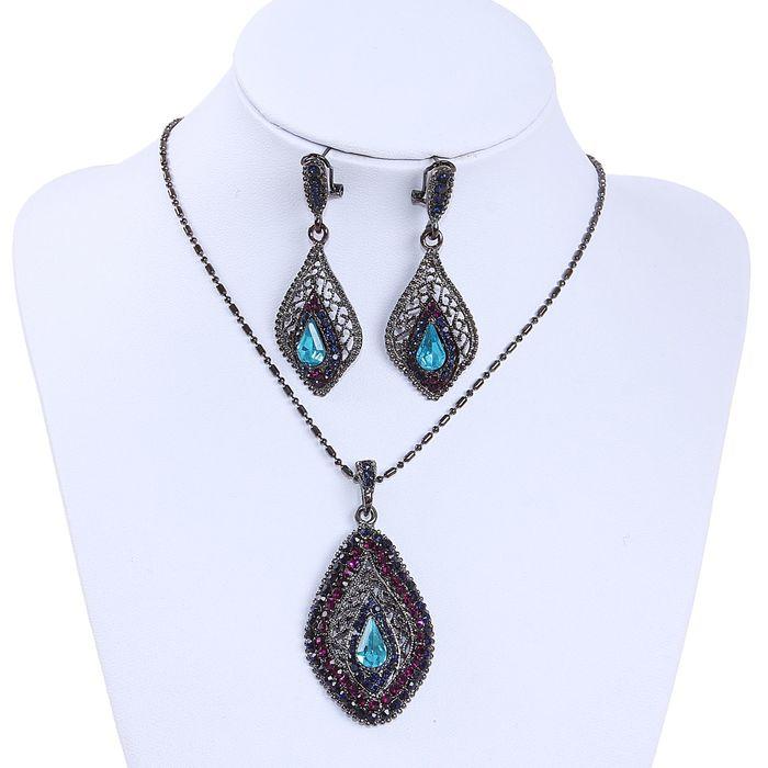 """Гарнитур 2 предмета: серьги, кулон """"Капля востока"""", цвет голубо-фиолетовый в чернёном серебре, 45см"""