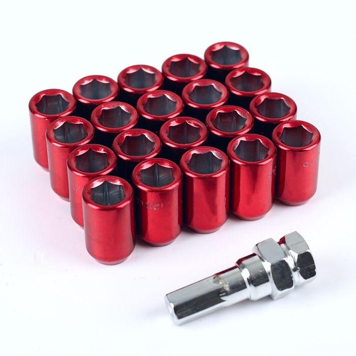 Набор гаек колёсных JN-302, 12х1.5, 32 мм, конус, 20 шт. + ключ, красные