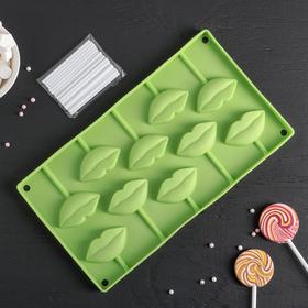Форма для леденцов и мороженого Доляна «Поцелуй», 10 ячеек (6×3см), 28,5×16 см, цвет МИКС