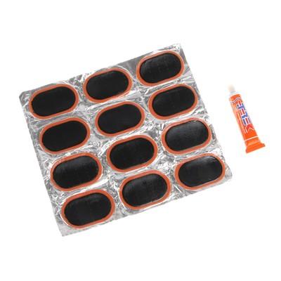 Набор заплаток для ремонта шин: 12 шт.+ клей