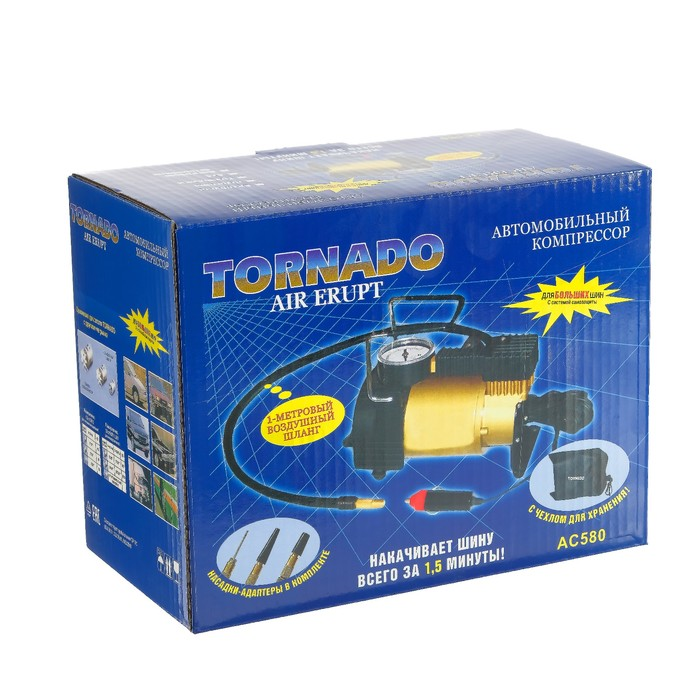 Компрессор автомобильный Tornado АC-580, 14 A, 35 л/мин, 55 PSI, 12 В
