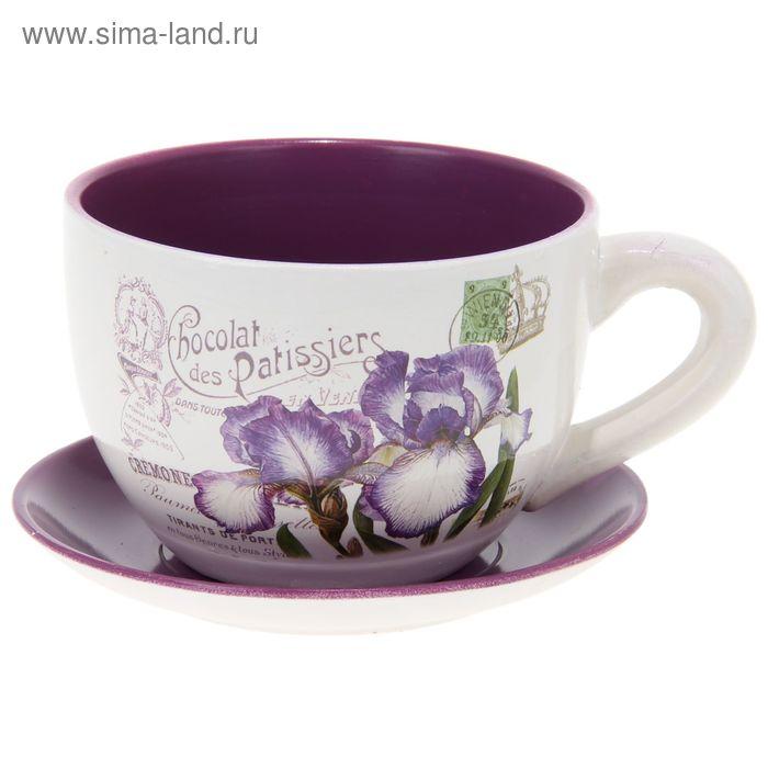 """Кашпо-чашка """"Ирисы"""" фиолетово-белое"""
