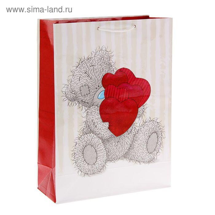 """Пакет подарочный """"Мишутка с сердечками"""", 26.4 х 36 х 11.5 см, Me to you"""