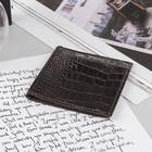 Портмоне, 1 отдел, отдел для карт, коричневый крокодил