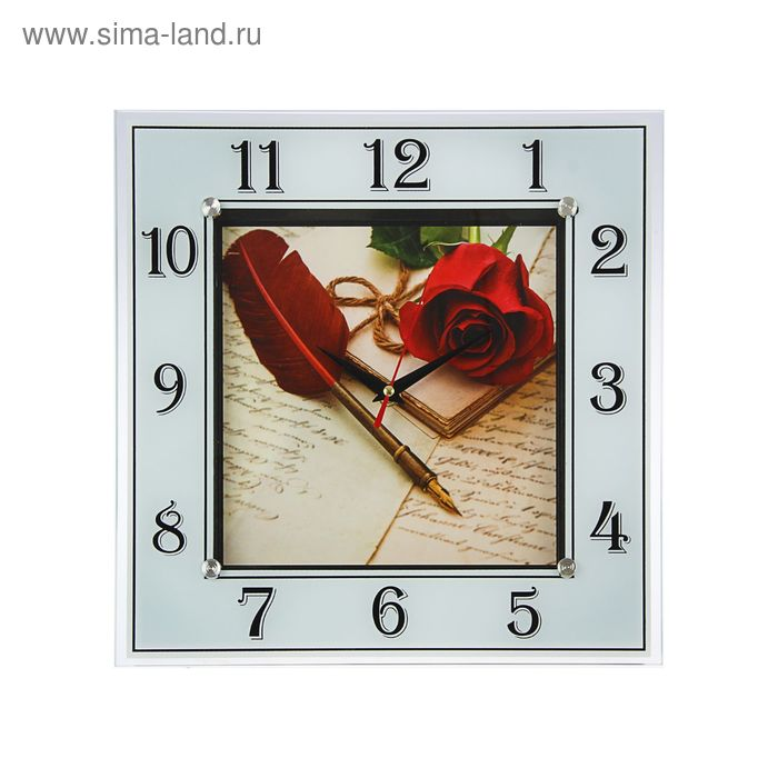 """Часы настенные квадратные """"Роза и перо"""", 31х31 см"""