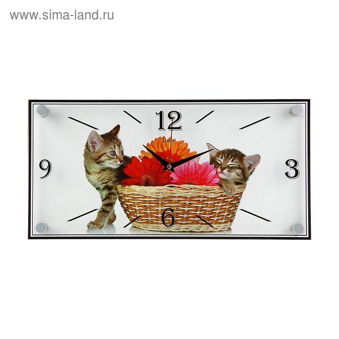 """Часы настенные прямоугольные """"Котята и корзина"""", 19х39 см"""