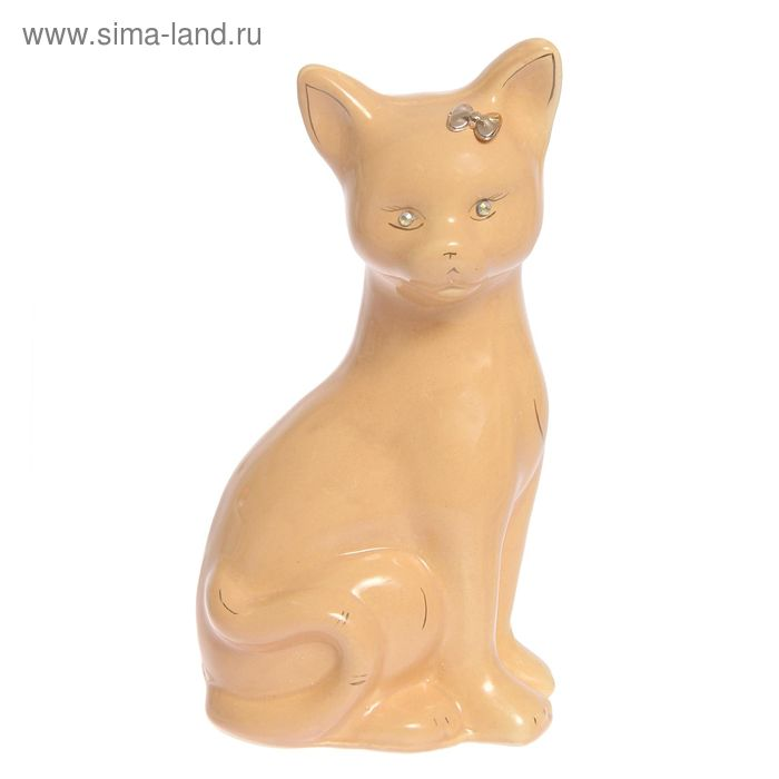 """Копилка """"Кошка Лиза"""" большая, глазурь, кремовая"""