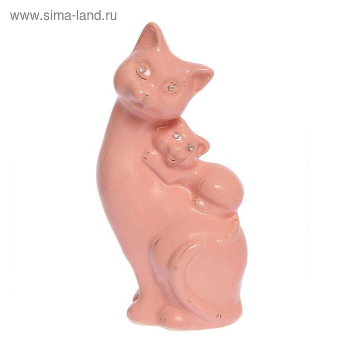 """Копилка """"Кошка с котёнком на спине"""" глазурь, розовая"""