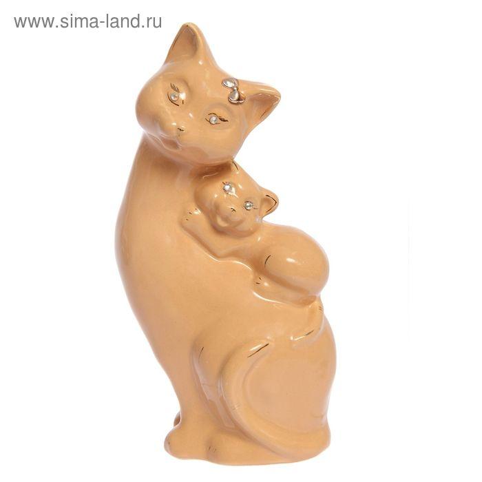 """Копилка """"Кошка с котёнком на спине"""" глазурь, кремовая"""