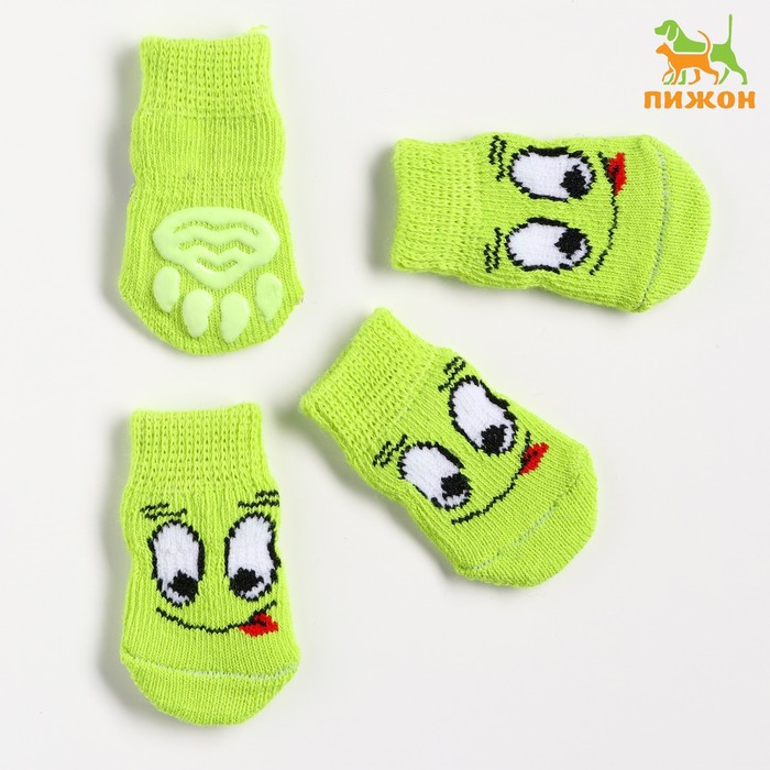 """Носки хлопковые нескользящие """"Улыбка"""", размер S (2,5/3,5 * 6 см), набор 4 шт, зеленые"""