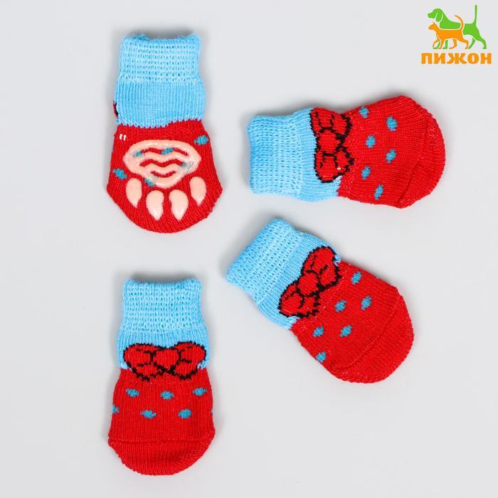 """Носки хлопковые нескользящие """"Бантик"""", размер S (2,5/3,5 * 6 см), набор 4 шт, красно-голубые 119168"""