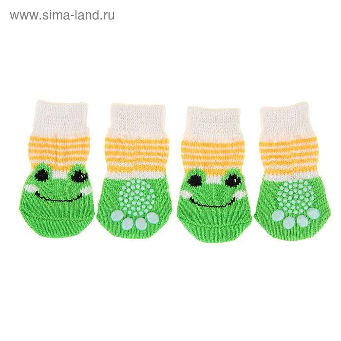 """Носки хлопковые нескользящие """"Лягушки"""", размер М (3/4 * 7 см), набор 4 шт, желто-зеленые"""