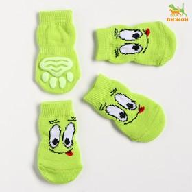 """Носки нескользящие """"Улыбка"""", размер L (3,5/5 * 8 см), набор 4 шт, зеленые"""