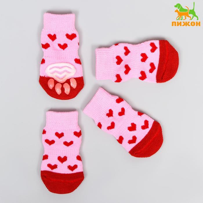 """Носки хлопковые нескользящие """"Сердечки"""", размер М (3/4 * 7 см), набор 4 шт, розовые"""