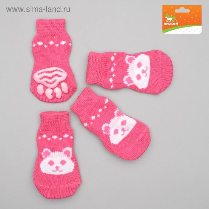 Носки нескользящие, размер L (3,5/5 х 8 см), набор 4 шт, микс расцветок для девочки; ;