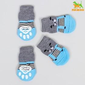 """Носки нескользящие """"Мишки"""", размер L (3,5/5 * 8 см), набор 4 шт, синие"""