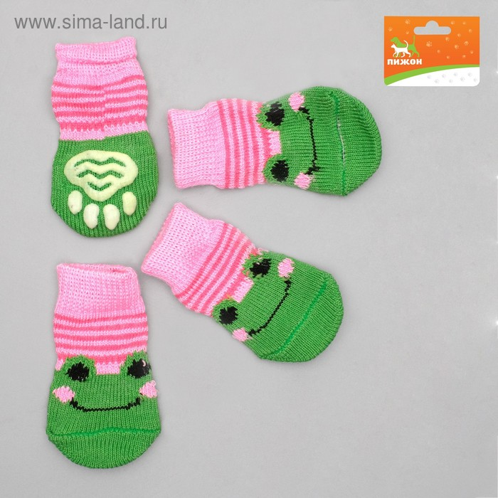 Носки нескользящие, размер M (3/4 х 7 см), набор 4 шт, микс расцветок для девочки; ;