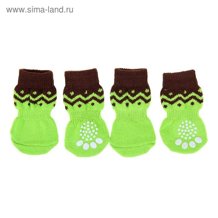 Носки хлопковые нескользящие, размер L, набор 4 шт, зелено-черные