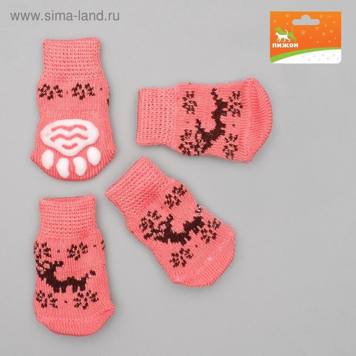 Носки нескользящие, размер S (2,5/3,5 х 6 см), набор 4 шт, микс расцветок для девочки; ;