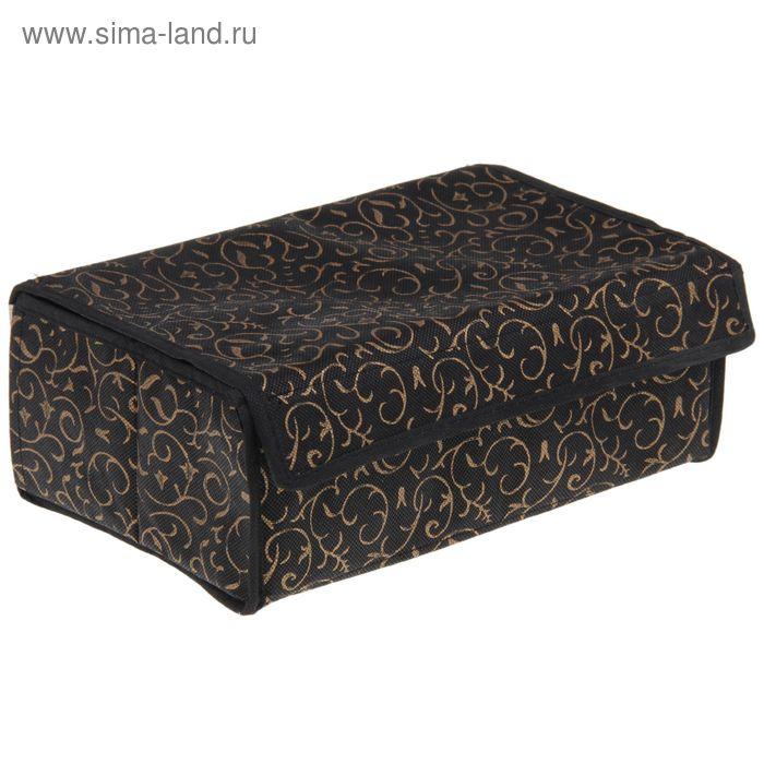 """Органайзер для белья с крышкой, 6 ячеек, 28х19х10 см, """"Роскошь"""", цвет черно-золотой"""