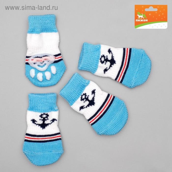 Носки нескользящие, размер  M (3/4 х 7 см), набор 4 шт, микс расцветок для мальчика; ;