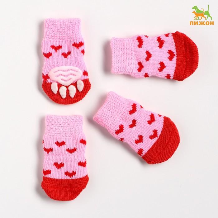 """Носки хлопковые нескользящие """"Сердечки"""", размер S (2,5/3,5 * 6 см), набор 4 шт, розовые"""
