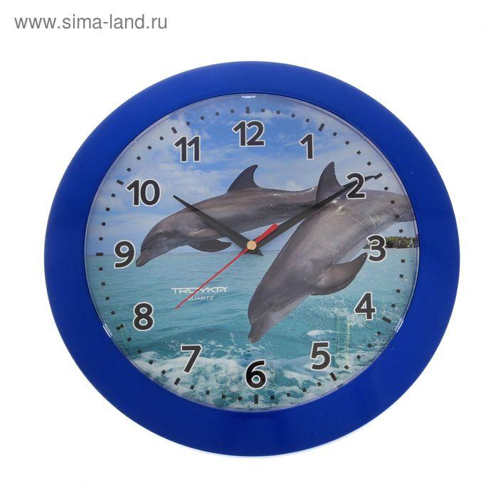 """Часы настенные круглые """"Парочка дельфинов"""", голубой обод, 30х30 см"""