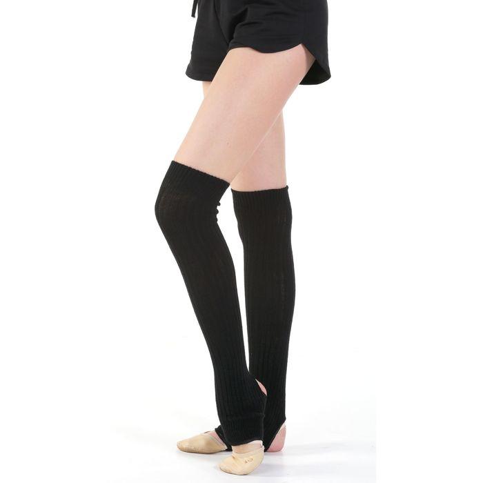 Гетры для танцев, с отверстием под пятку, 60 см, цвет чёрный