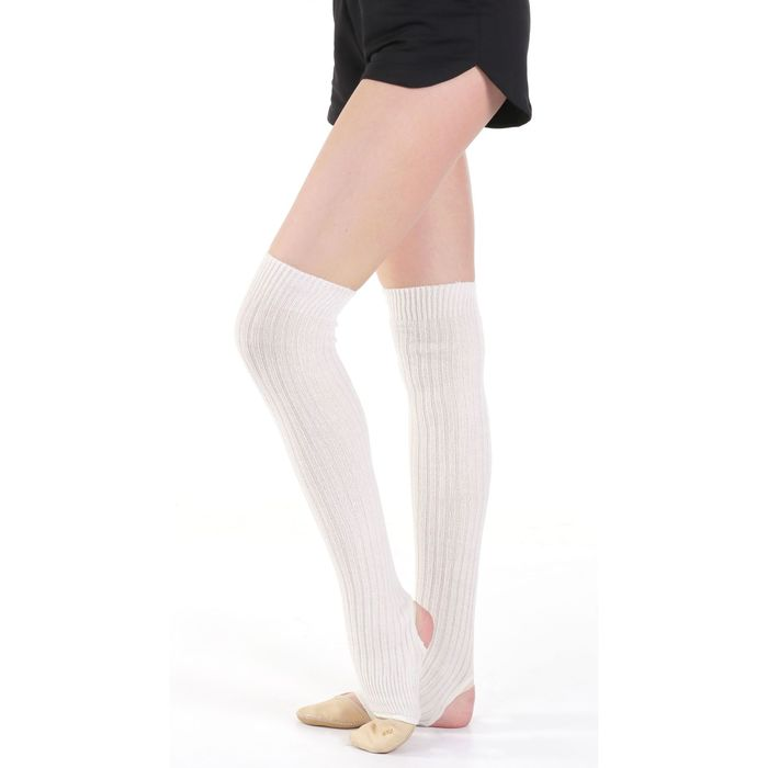 Гетры для танцев, с отверстием под пятку 60 см, цвет молочный