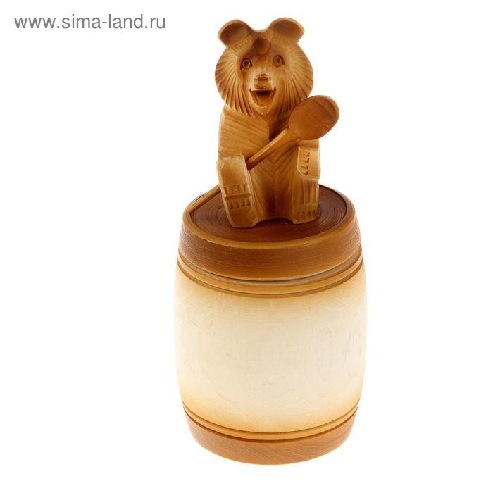 """Бочонок для мёда и сыпучих продуктов """"Медведь на крышке"""", липа, 0,5 л, ручная работа"""