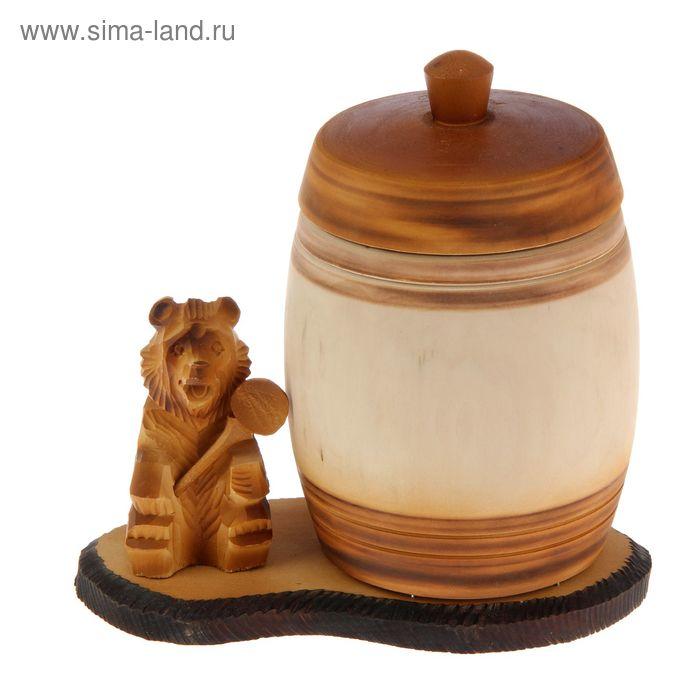 """Бочонок для мёда и сыпучих продуктов """"Медведь"""", липа, 2 л, ручная работа"""